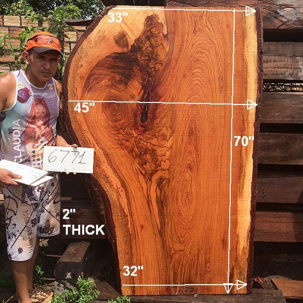 "Jatoba / Brazilian Cherry #6771- 2"" x 32"" to 45"" x 70"" FREE SHIPPING within the Contiguous US. - Big Wood Slabs"