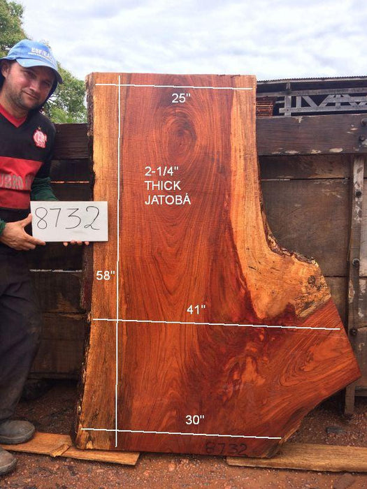 "Jatoba / Brazilian Cherry  #8732- 2-1/4"" x 25"" to 41"" x 58"" FREE SHIPPING within the Contiguous US. - Big Wood Slabs"