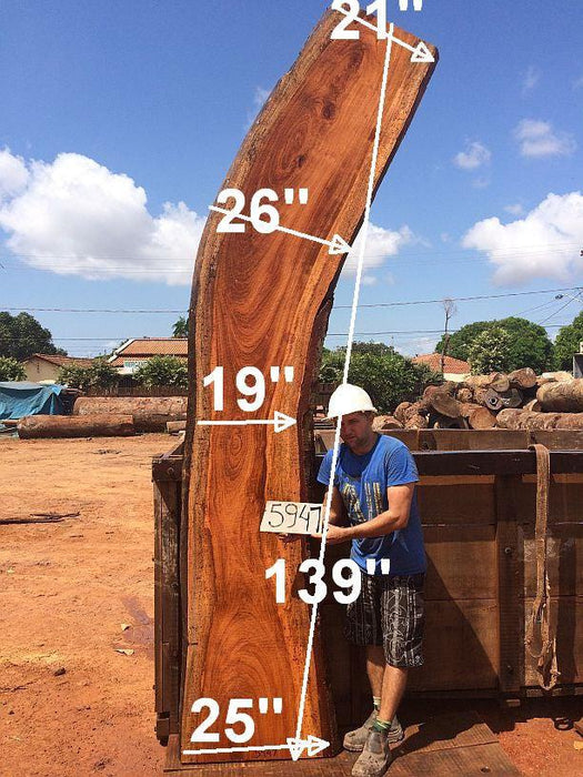 "Jatoba / Brazilian Cherry #5947- 2-1/2"" x 21"" to 26"" x 139"" FREE SHIPPING within the Contiguous US. - Big Wood Slabs"
