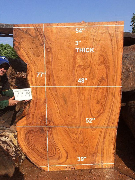 "Angelim Pedra #7774- 3"" x 39"" to 54"" x 77"" FREE SHIPPING within the Contiguous US. - Big Wood Slabs"
