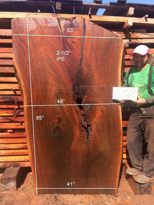 Ipe / Brazilian Walnut - 2-1/2″ x 41″ to 53″ x 85″ - Big Wood Slabs