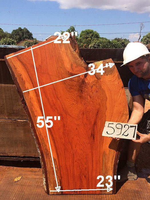 "Jatoba / Brazilian Cherry #5927- 2-1/2"" x 22"" to 34"" x 55"" FREE SHIPPING within the Contiguous US. - Big Wood Slabs"