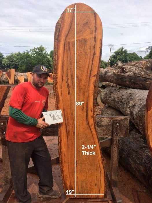 "Angelim Pedra #7960 - 2-1/4"" x 17"" to 19"" x 89"" FREE SHIPPING within the Contiguous US. - Big Wood Slabs"