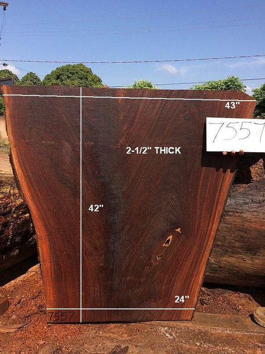 "Ipe / Brazilian Walnut - 2-1/2"" x 24"" to 43"" x 42"" - Big Wood Slabs"