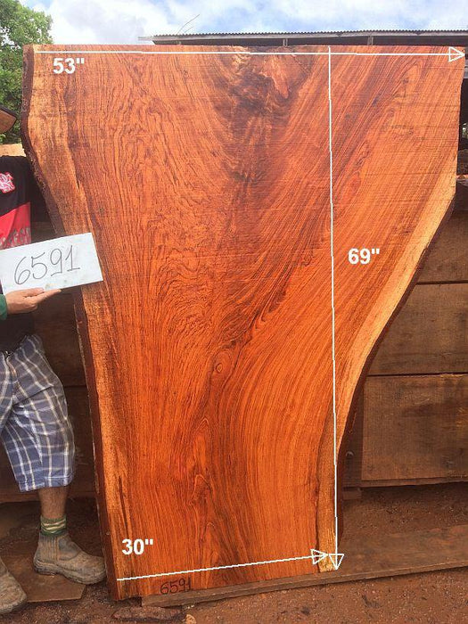 "Jatoba / Brazilian Cherry #6591- 3"" x 30"" to 53"" x 69"" FREE SHIPPING within the Contiguous US. - Big Wood Slabs"