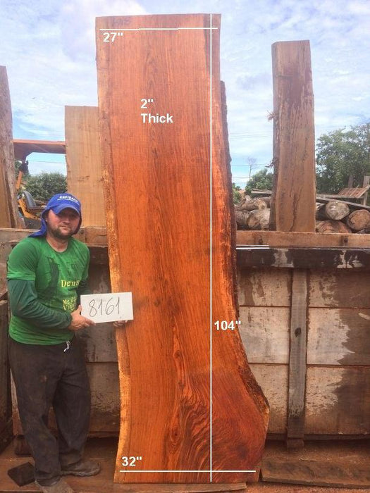 "Jatoba / Brazilian Cherry #8161 - 2"" x 27"" to 32"" x 104"" FREE SHIPPING within the Contiguous US. - Big Wood Slabs"
