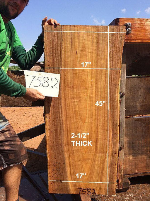"Fava Timborana #7582- 2-1/2"" x 17"" x 45"" FREE SHIPPING within the Contiguous US. - Big Wood Slabs"