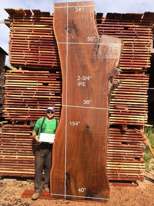 Ipe / Brazilian Walnut #8781- 2-3/4″ x 34″ to 40″ x 154″ FREE SHIPPING within the Contiguous US. - Big Wood Slabs
