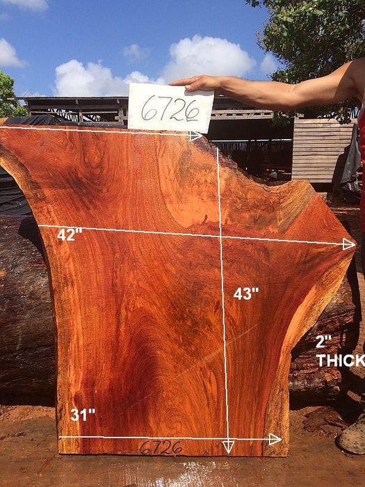 "Jatoba / Brazilian Cherry #6726- 2"" x 31"" to 42"" x 43"" FREE SHIPPING within the Contiguous US. - Big Wood Slabs"