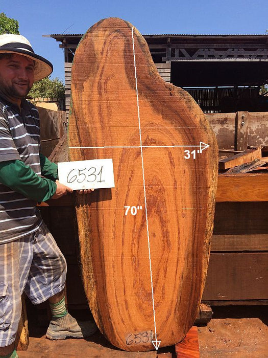 "Angelim Pedra #6531 - 2-1/2"" x 19"" to 31"" x 70"" FREE SHIPPING within the Contiguous US. - Big Wood Slabs"