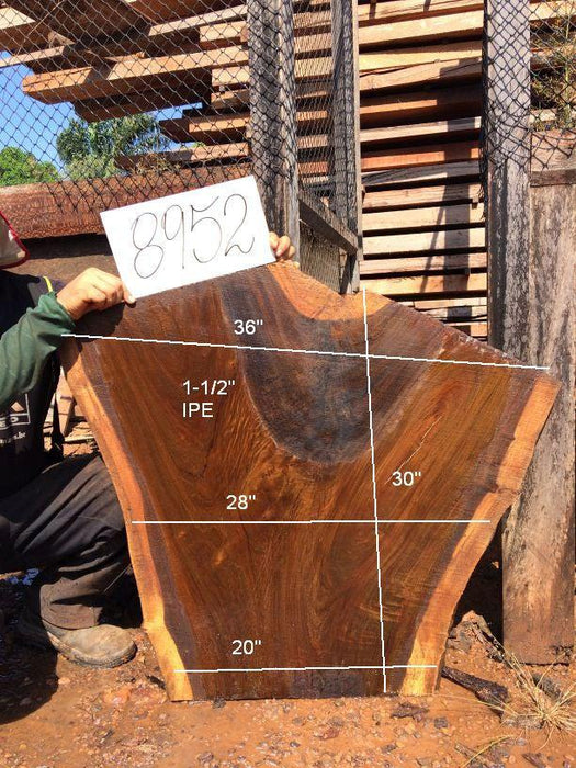 "Ipe / Brazilian Walnut #8952– 1-1/2"" x 20"" to 36"" x 30"" FREE SHIPPING within the Contiguous US. - Big Wood Slabs"