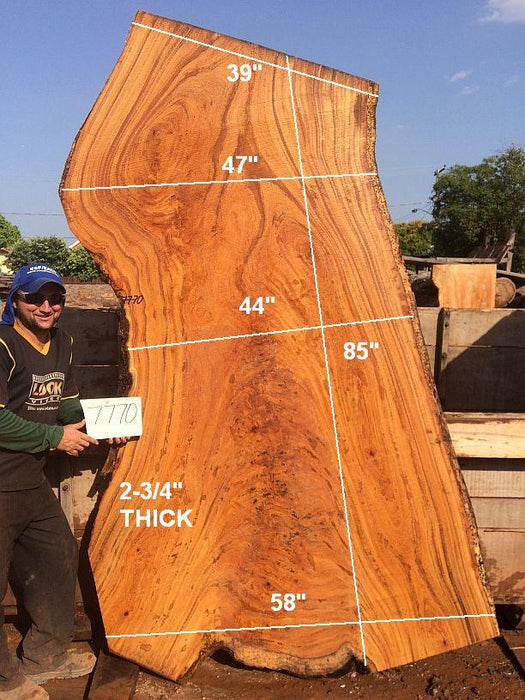 "Angelim Pedra #7770 - 2-3/4"" x 39"" to 58"" x 85"" FREE SHIPPING within the Contiguous US. - Big Wood Slabs"