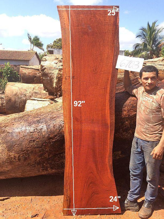 "Jatoba / Brazilian Cherry #6703- 2-1/2"" x 24"" to 25"" x 92"" FREE SHIPPING within the Contiguous US. - Big Wood Slabs"