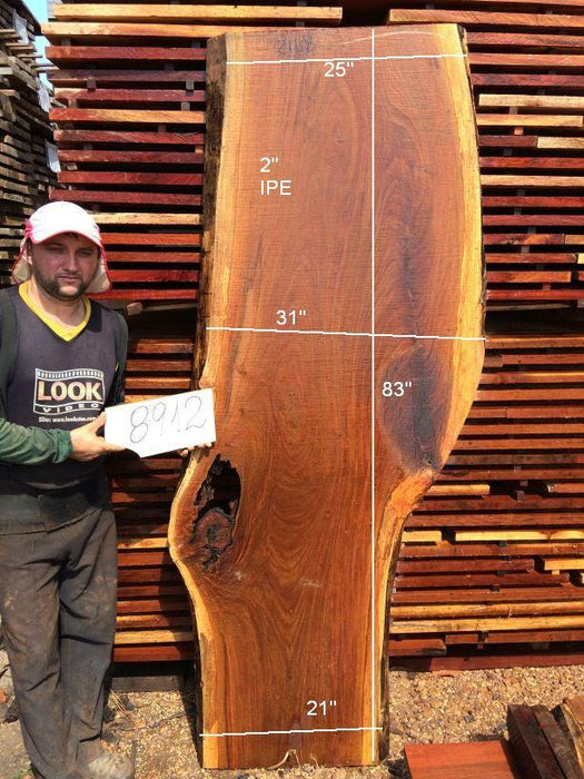 Ipe / Brazilian Walnut #8912- 2″ x 21″ to 31″ x 83″ FREE SHIPPING within the Contiguous US. - Big Wood Slabs
