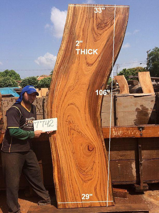 "Angelim Pedra #7742 - 2"" x 29"" to 33"" x 106"" FREE SHIPPING within the Contiguous US. - Big Wood Slabs"