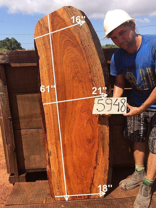 "Jatoba / Brazilian Cherry - 2-3/4"" x 16"" to 21"" x 61"" - Big Wood Slabs"