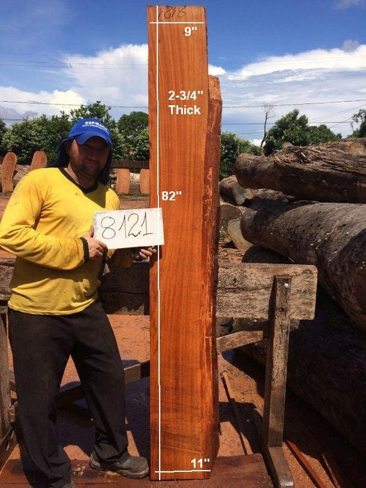 "Jatoba / Brazilian Cherry #8121- 2-3/4"" x 9"" to 11"" x 82"" FREE SHIPPING within the Contiguous US. - Big Wood Slabs"