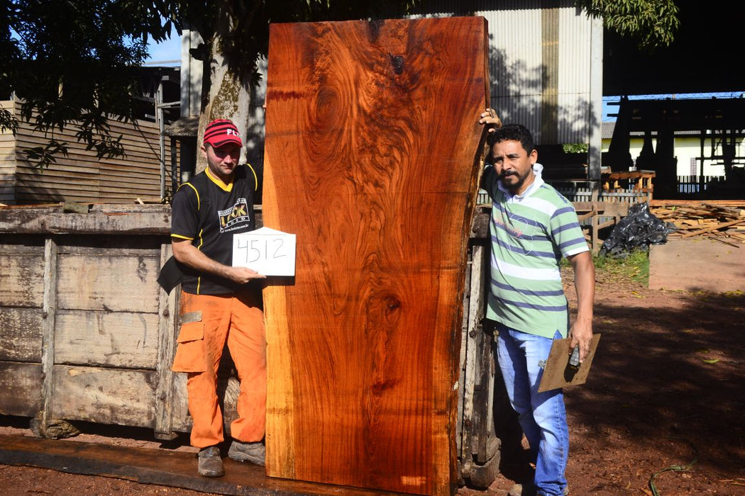 "Jatoba / Brazilian Cherry #4512- 3-1/2"" x 34"" to 40"" x 83"" FREE SHIPPING within the Contiguous US. - Big Wood Slabs"