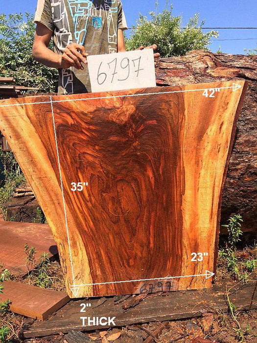 "Jatoba / Brazilian Cherry #6797- 2"" x 23"" to 42"" x 35"" FREE SHIPPING within the Contiguous US. - Big Wood Slabs"