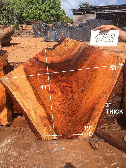 "Jatoba / Brazilian Cherry #6739- 2"" x 19"" to 50"" x 41"" FREE SHIPPING within the Contiguous US. - Big Wood Slabs"