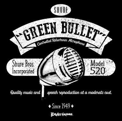 Shure Green Bullet Retro Microphone T-shirt