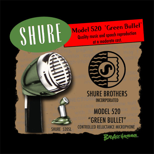 Women's Shure 520 Green Bullet Microphone T-shirt