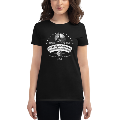 Women's Shure Brown Bullet Retro Microphone T-shirt