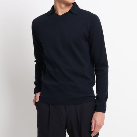 【SUVIN COTTON】Crew Neck With Collar Knit