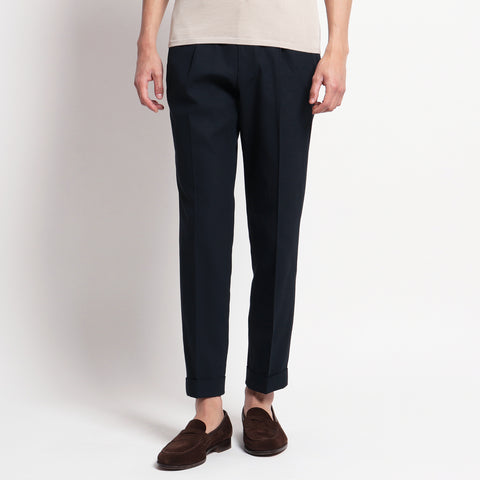 High Twist Cotton Gabardine Easy Trousers
