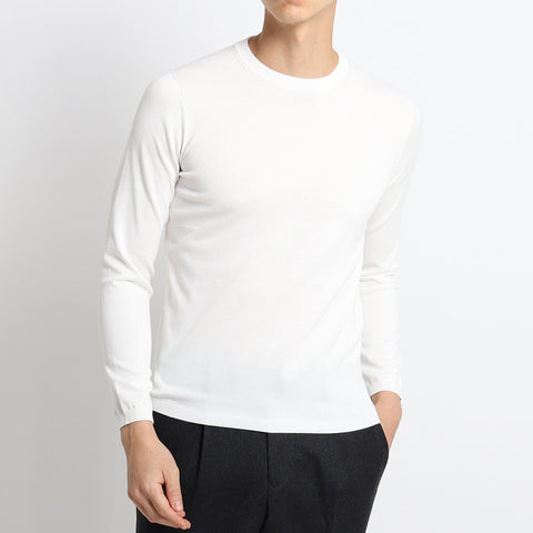 【新色】【SUVIN COTTON】Crew Neck Knit