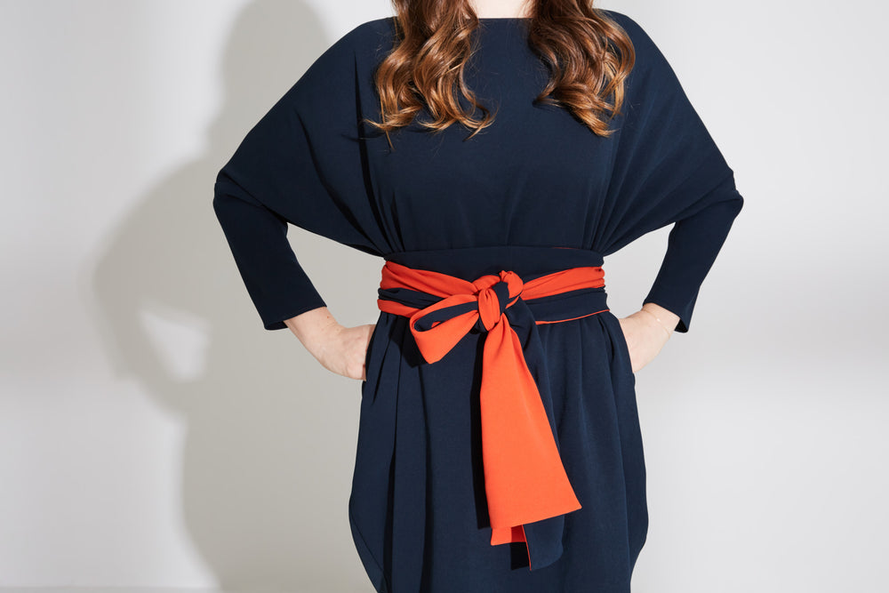 Boat Neck Circle Dress With Belt