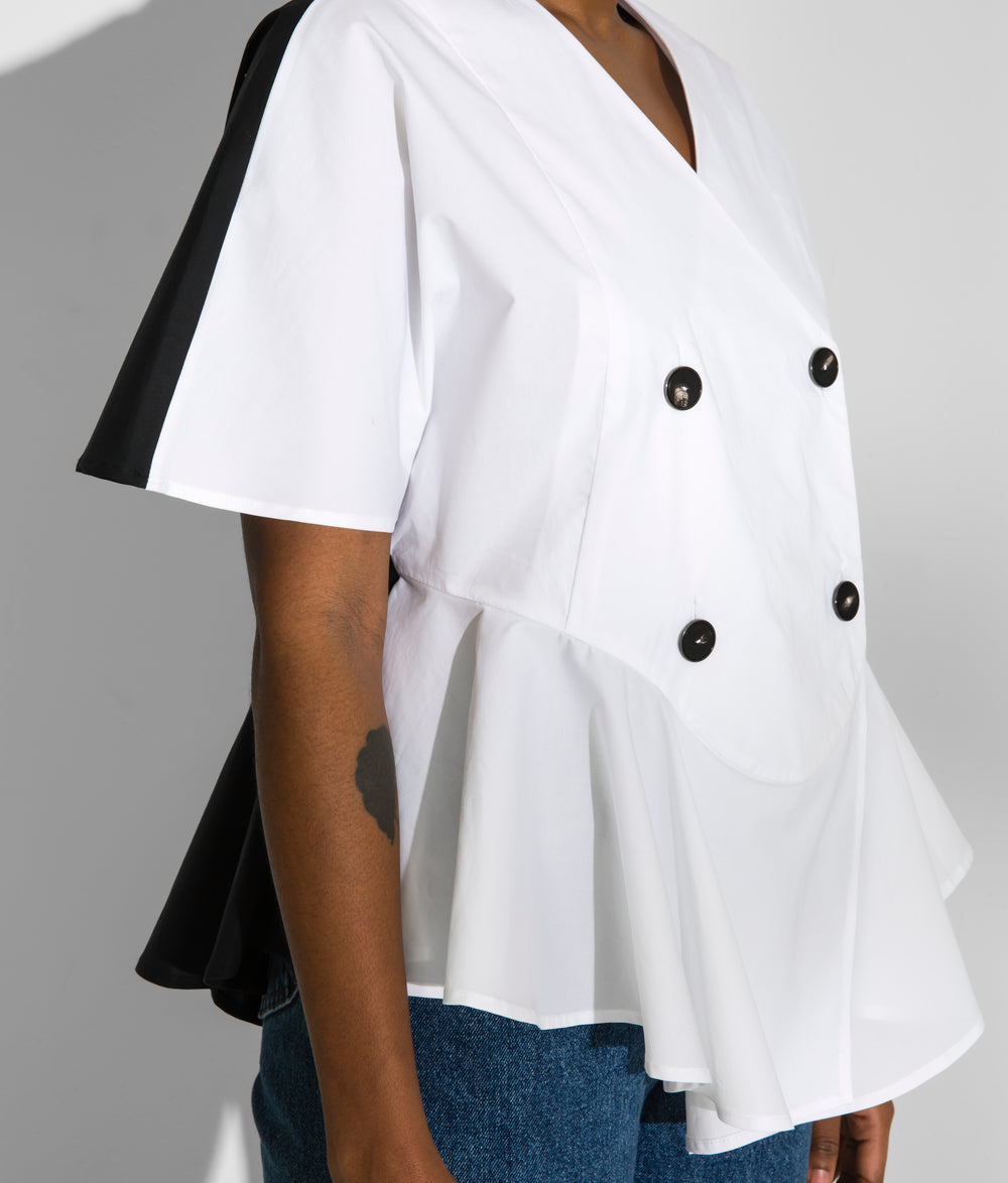Black and White Color Blocked, Lightly Tailored Double Breasted Woman's Cape Top, Second Sight inclusive fashion, Inclusive Fashion for Women Sizes 00 - 24, Made in America, American Made Fashion