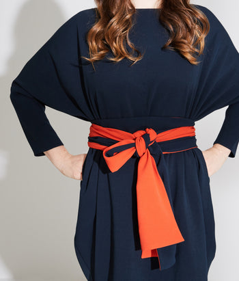Boat Neck Circle Dress With Belt (Emilie)
