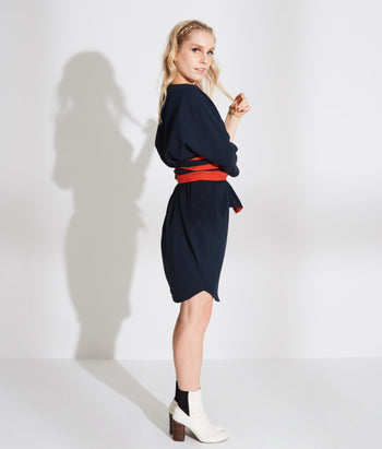 Boat Neck Circle Dress With Belt (Katy)