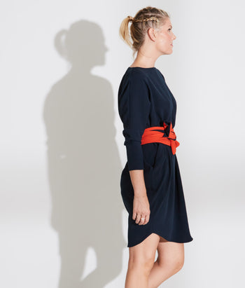 Boat Neck Circle Dress With Belt (Amanda)