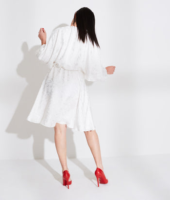 Dolman Sleeve Dress with Drawstring Waist (Maayan)