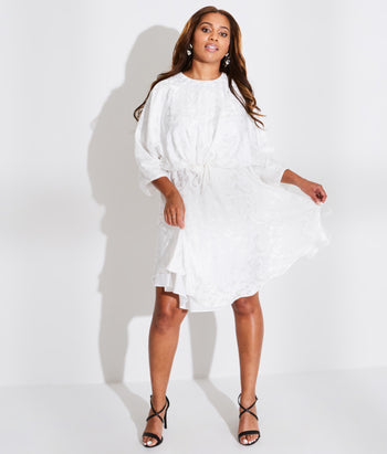 Dolman Sleeve Dress with Drawstring Waist (Angel)
