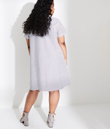 Pleat Front Tee Dress (Evan)