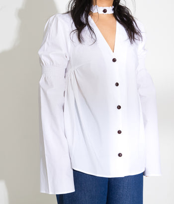 V Neck Smocked Button Down (Steph)