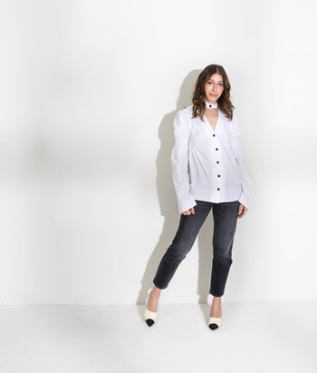 V Neck Smocked Button Down (Stephanie)