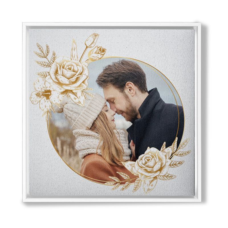 WHITE ROSE PHOTO COUPLE LOVE - FRAMED CANVAS - TU0203205