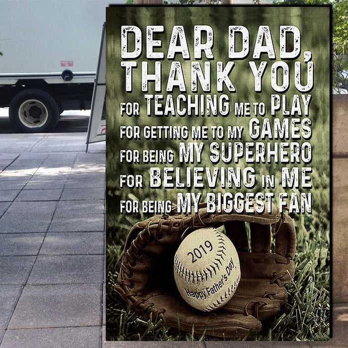 DEAR DAD THANK YOU FOR TEACHING ME TO PLAY BASEBALL CANVAS - TA170519NH