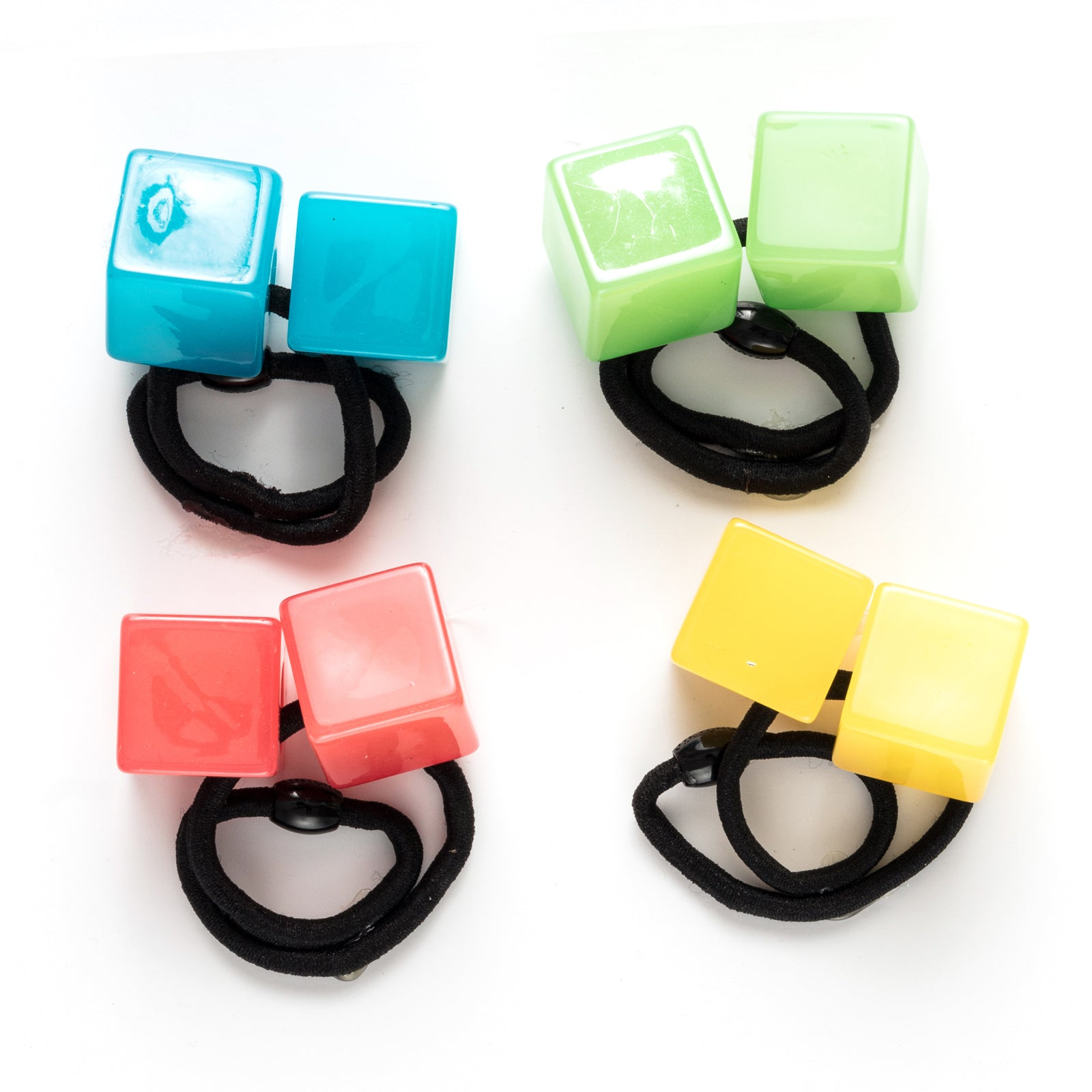 Shiny cube resin bauble hair tie
