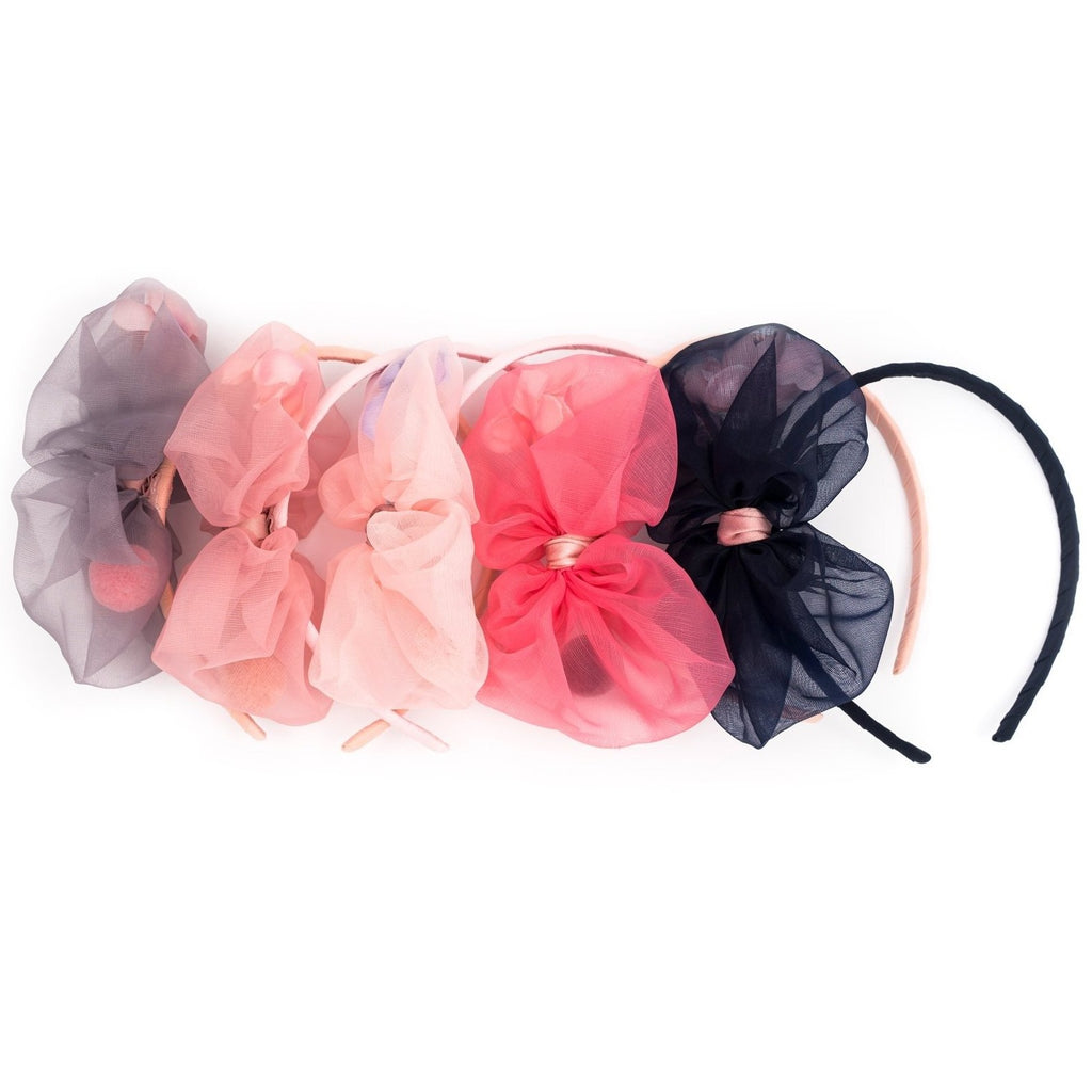 Organza bow with flowers inside Aliceband