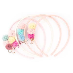 Three pompom with shoe lace alice band