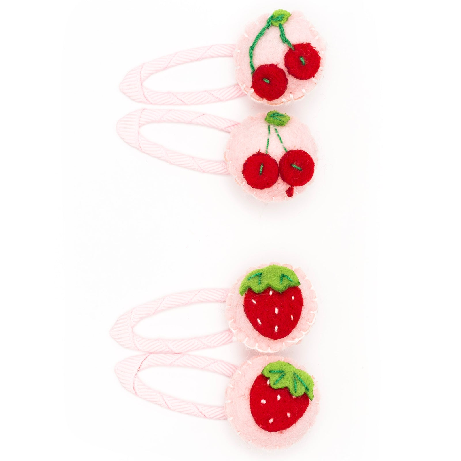 Pink strawberry and cherry clip