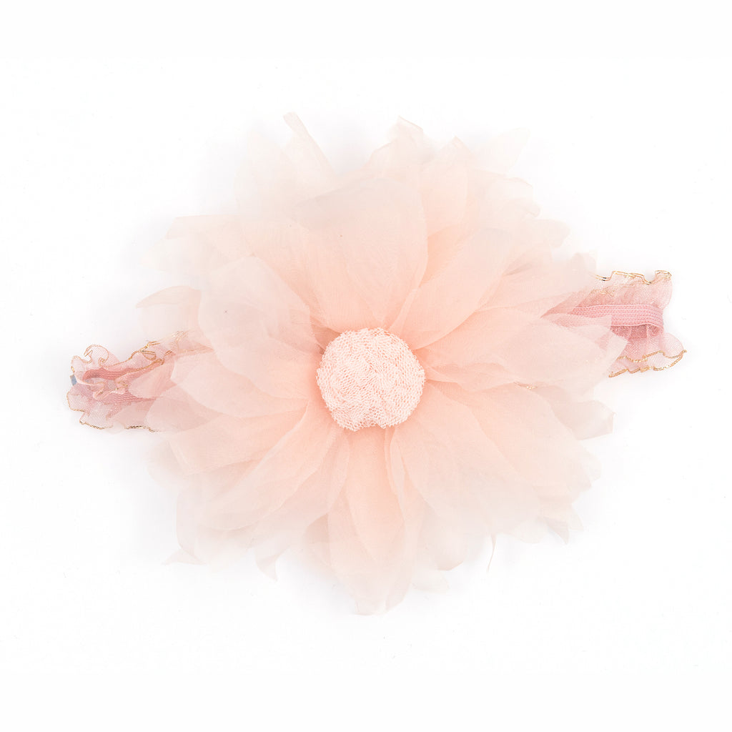 Flower with pompom stretch aliceband