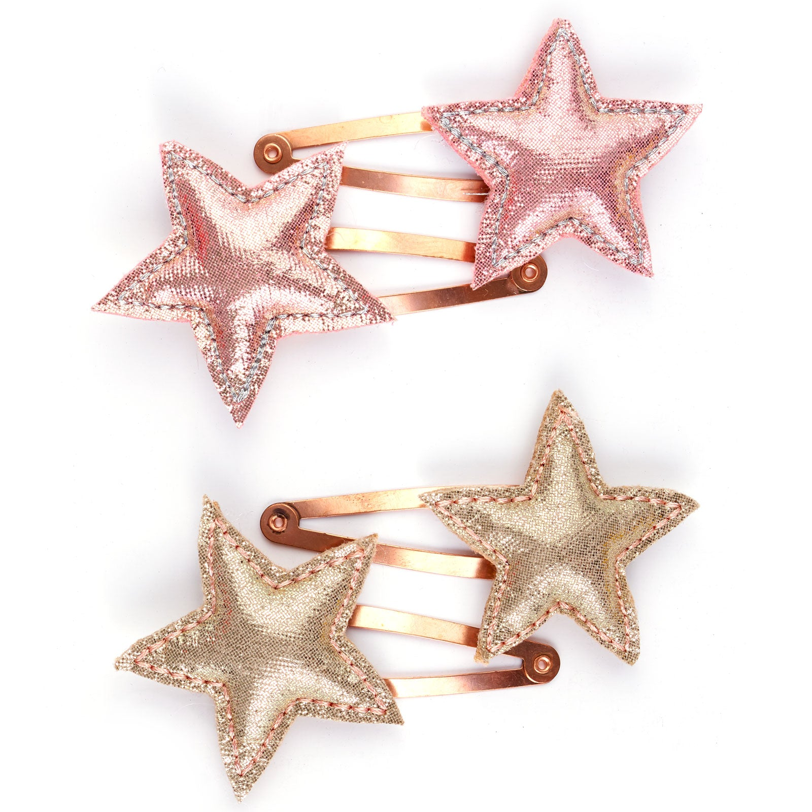 Metallic fabric stars hair clip