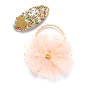 Tulle pom pom hair tie with gold sparkle hair clip