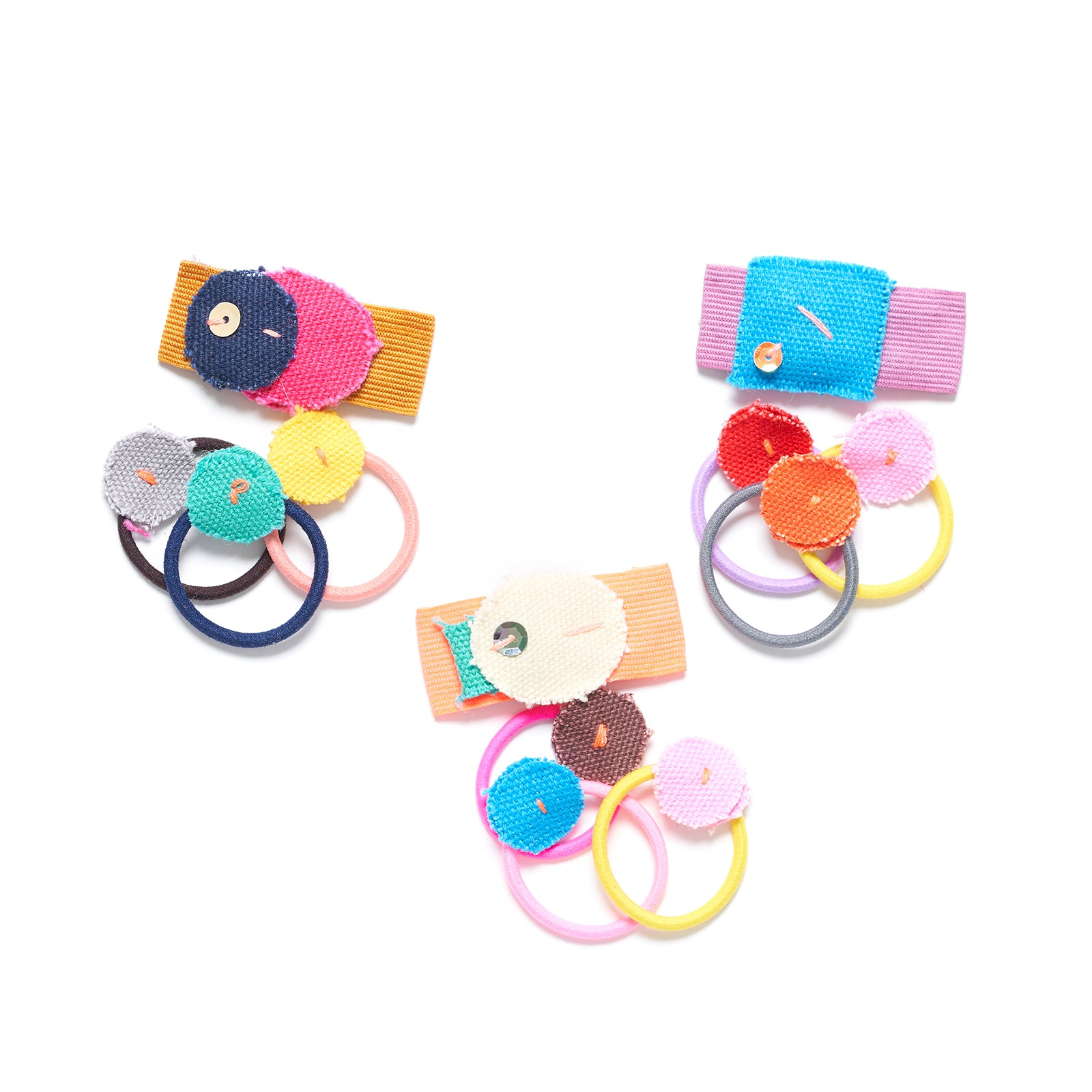 Colorful fabric clip and small hair ties